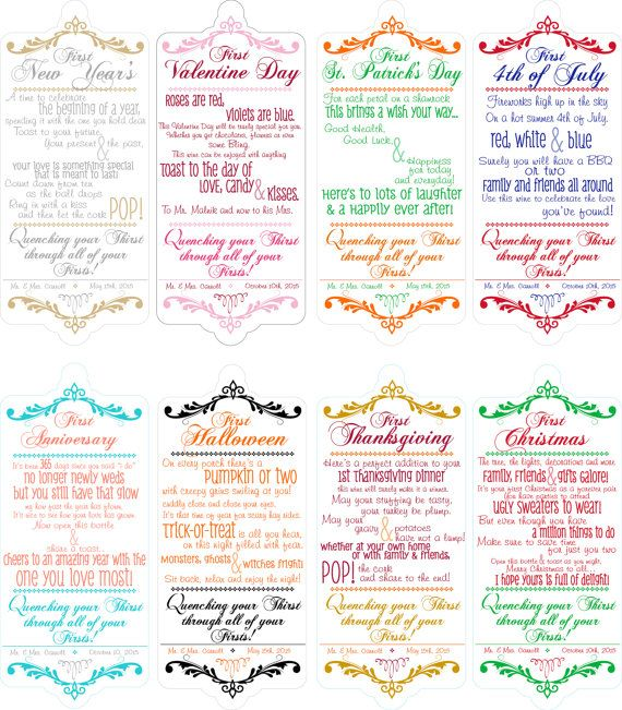 Bridal Shower Wine Poem Tags Set Of 8 Holidays New Years V Day