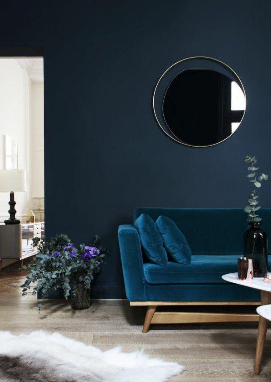salon bleu moderne déco mur idée fleurs intérieur tapis de sol ...