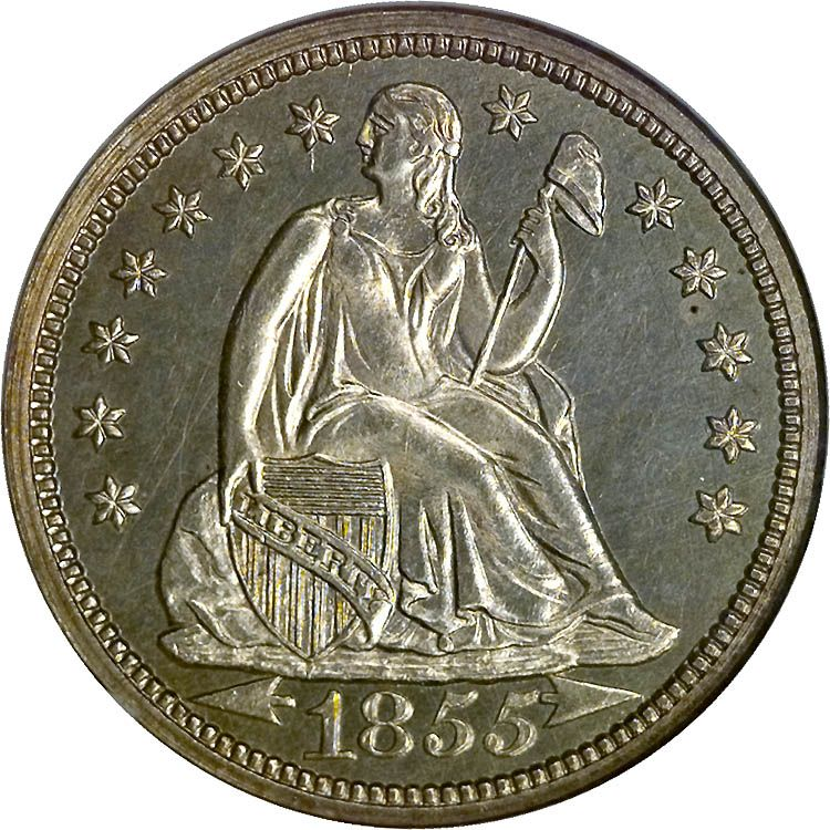 Seated Liberty Dimes 1855 With Arrows At Date Type 3