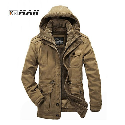 Men Jackets Windbreaker Warm Coats with Hood Winter Trench Zipper Military Cotton Overcoat Windproof Cardigan Outerwear