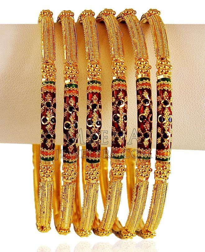 22k Meenakari Gold Bangles Set ( Set of Bangles ) | Jewellery ...