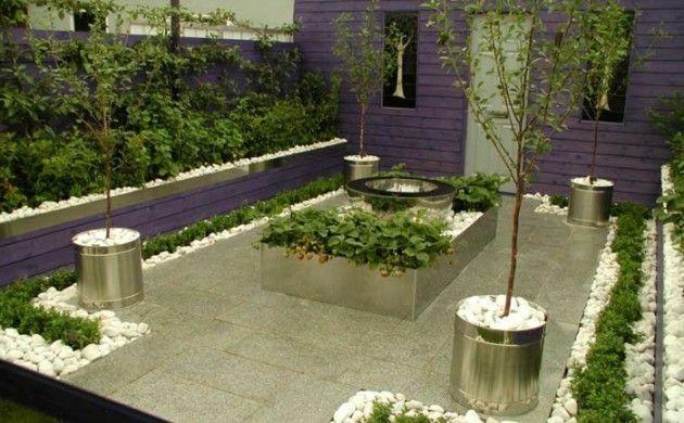 Garten Gestalten Ideen Kleiner Garten Lila Fassade