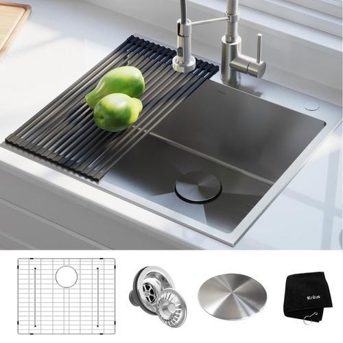 Kraus Standart Pro 25 In X 22 In Stainless Steel Single Bowl Drop In 2 Hole Residential Kitchen Sink Lowes Com In 2020 Sink Design Sink Drain Opener
