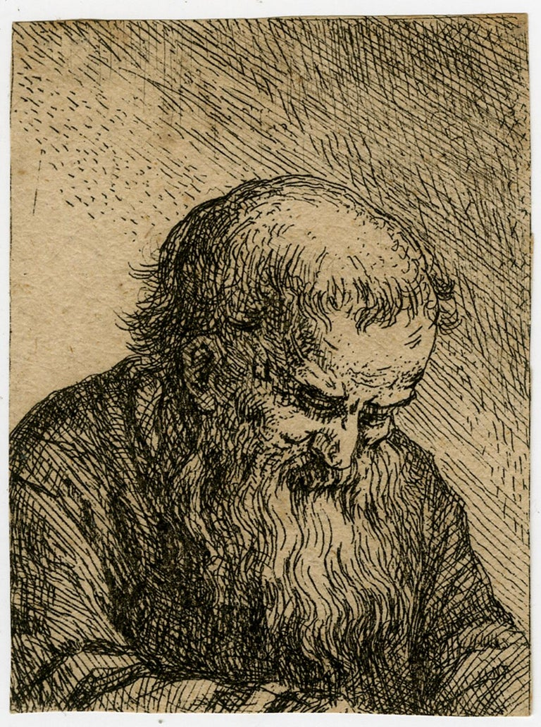 Unknown Old Bearded Man Looking Down Etching 17th Century Antique Prints 17th Century Men Looks