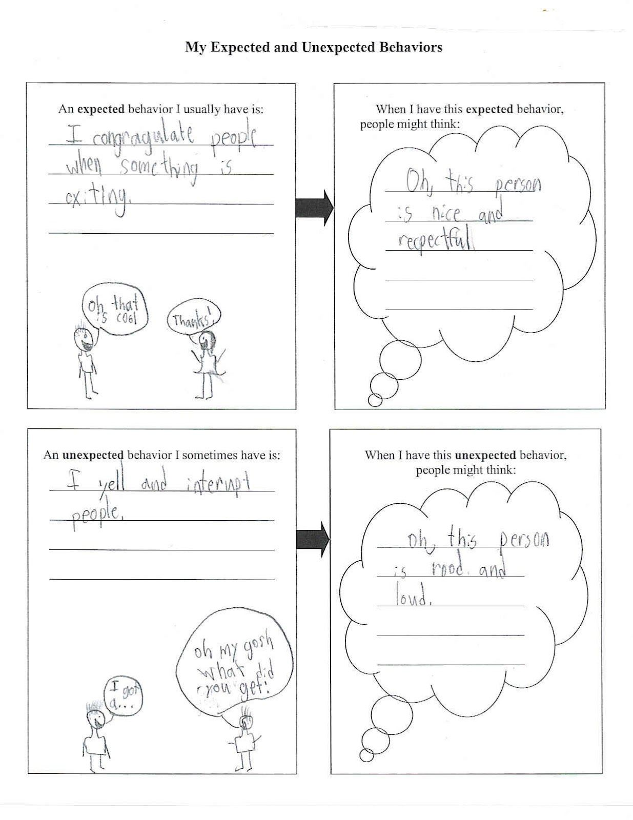 worksheet Expected And Unexpected Behaviors Worksheet third graders are delving more deeply into understanding how their behaviors affect others think and feel about them we all