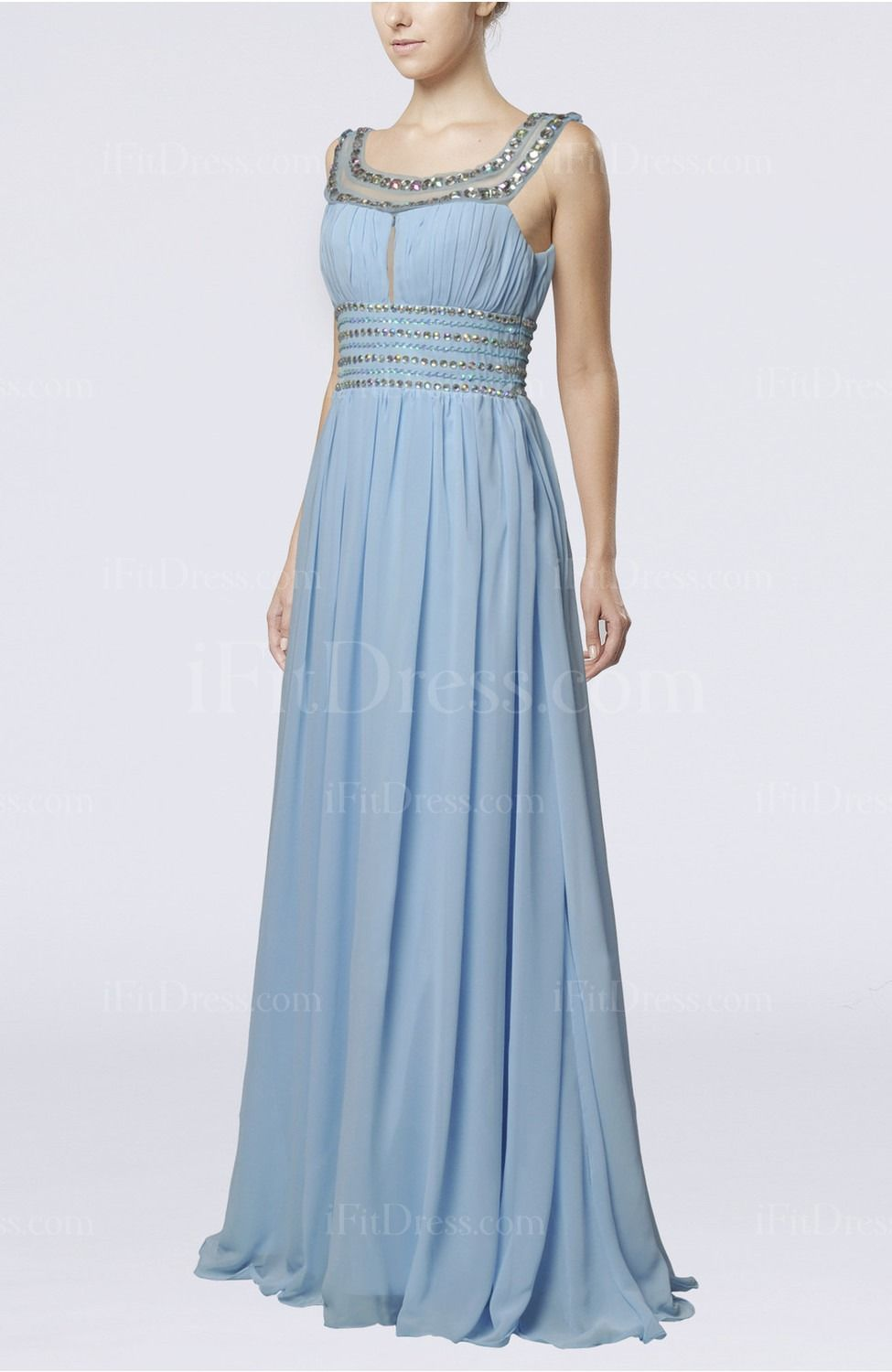 Light blue elegant empire chiffon floor length paillette wedding