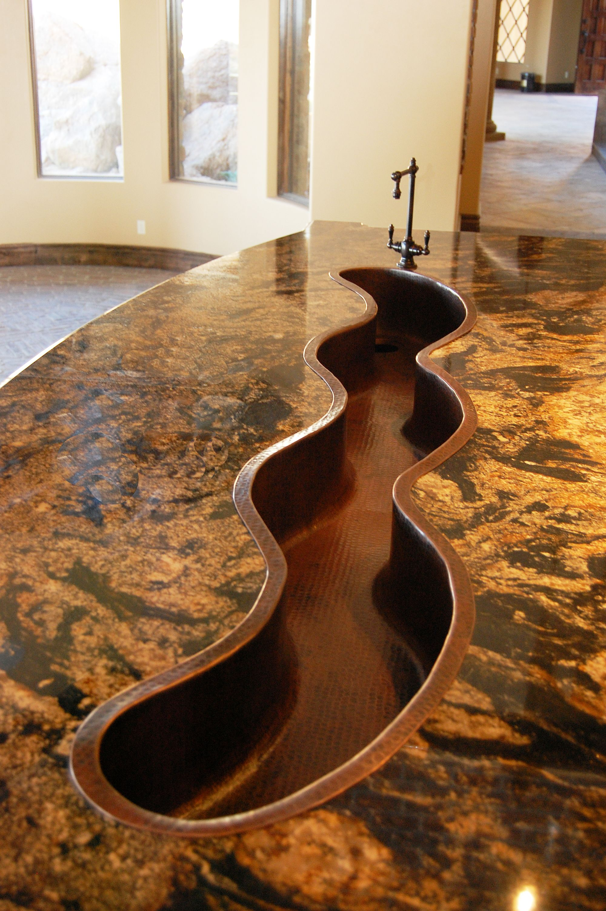 Featured On This 12 Foot Wide Kitchen Island Is A 8 Foot Custom Lazy River Coppersink What A