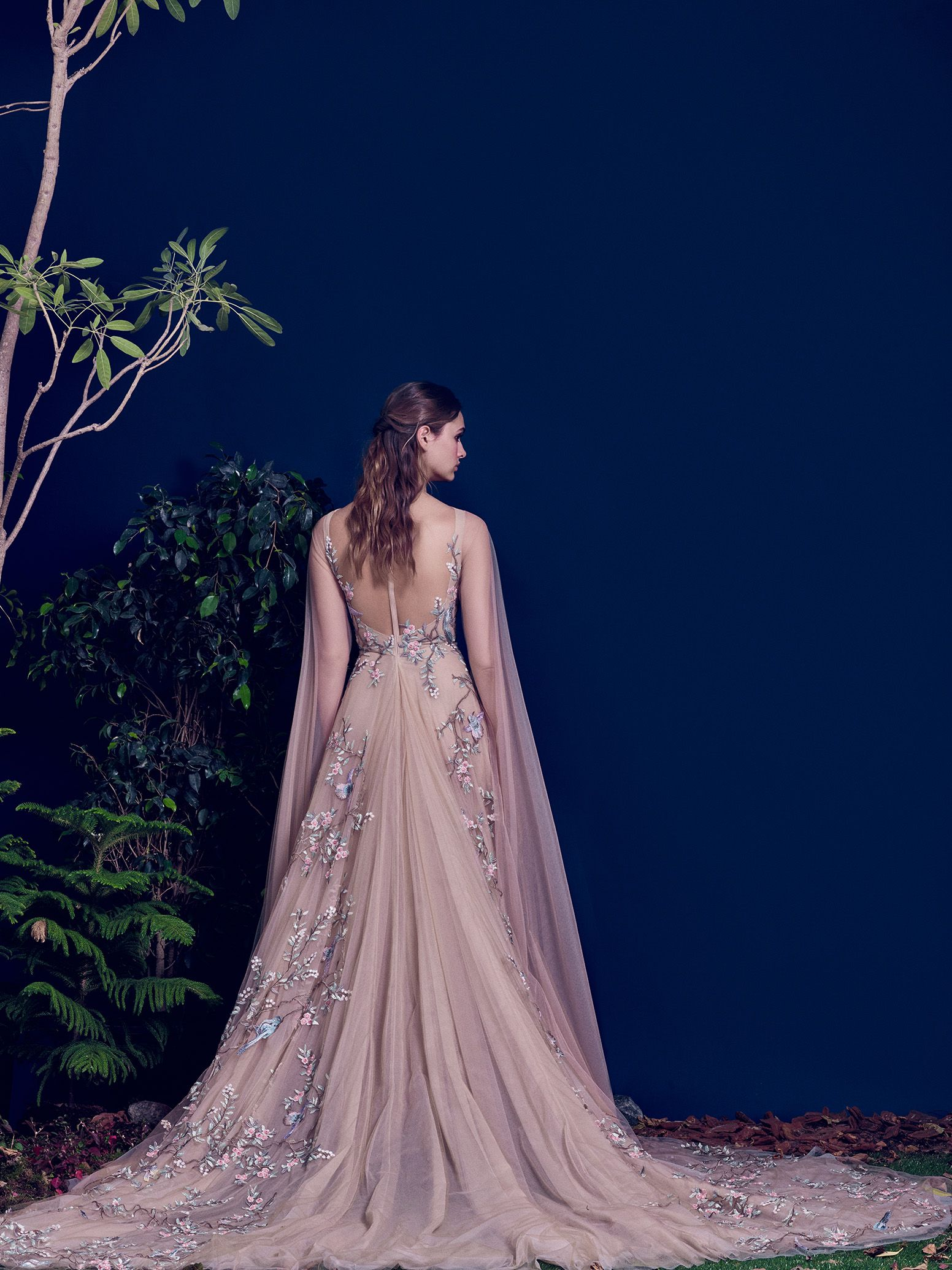 Hamda AlFahim Fall Winter 2016 Nude Fully Embroidered Bird Tulle Dress with Cascading Sleeves - Back View