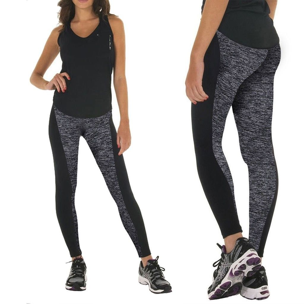 Yoga Capris - Yoga Leggings - Power Flex Yoga Capris For Women - Black&grey - CX12LI4PK2L - Sports &...