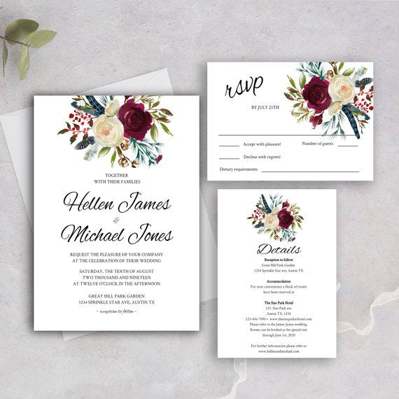 Online Wedding Invitations Website: Wedding Invitation Template,Printable Burgundy Invitation