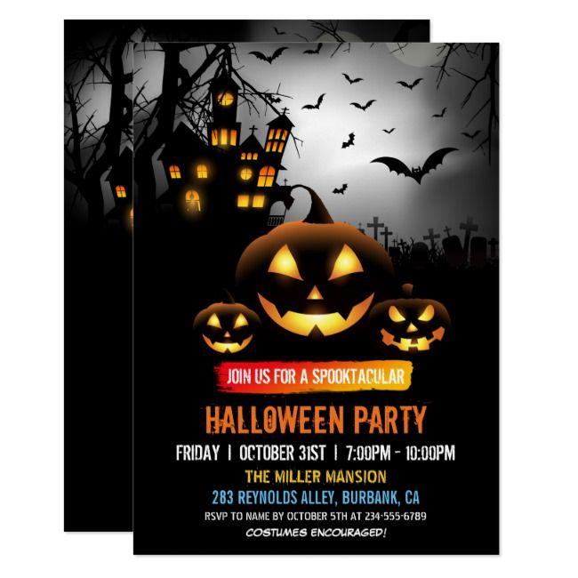 Spooktacular Dark Haunted House Halloween Party Invitation |  Spooktacular Dark Haunted House Halloween Party Invitation