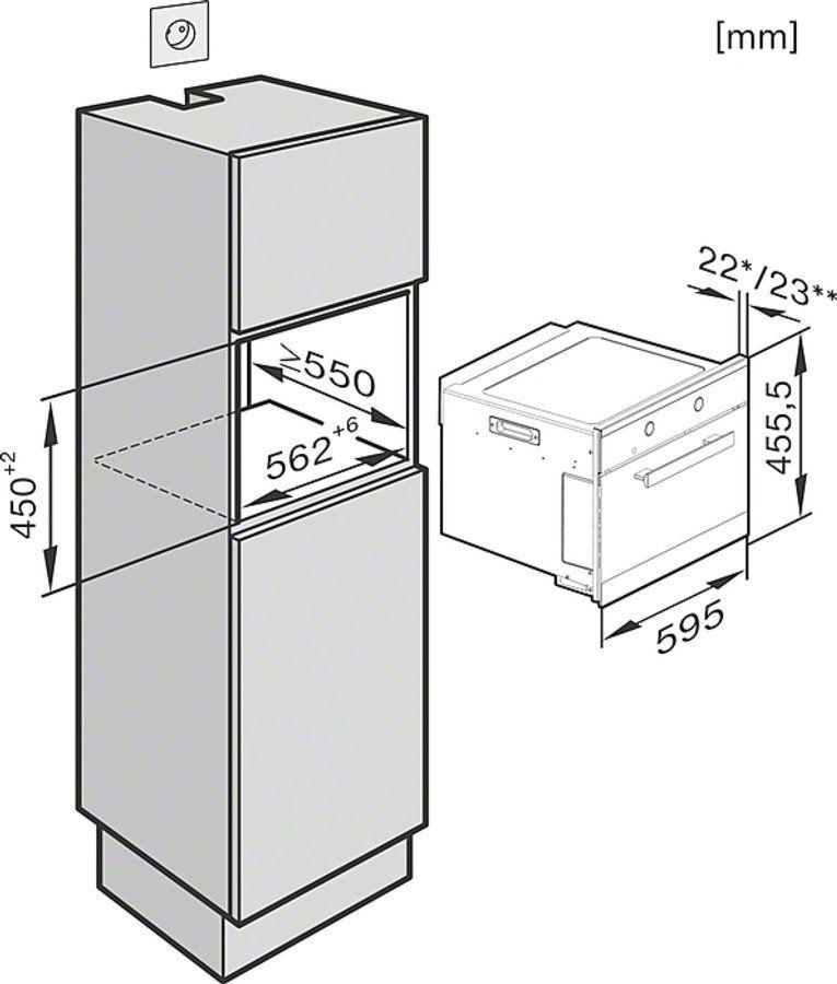 Microondas miele m 6160 tc ed clst 900w de potencia 46 for Medidas de hornos de cocina