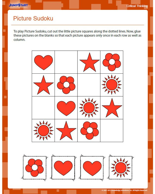 Picture Sudoku - Free Critical Thinking Worksheet for Kindergarten ...