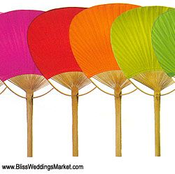 Solid Color Paper Paddle Fans / Set of 10 at http://www.BlissWeddingsMarket.com!