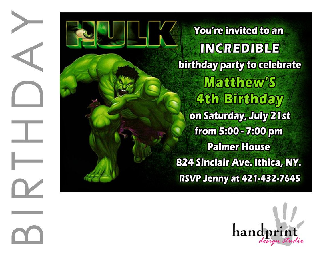 Hulk Birthday Invitation Hulk Party Invite Hulk Printable – Hulk Birthday Invitations