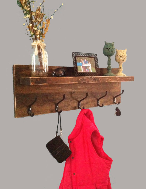 Rustic Entryway Shelf With Hooks Coat Rack Key Holder Farmhouse Decor Reclaimed Wood