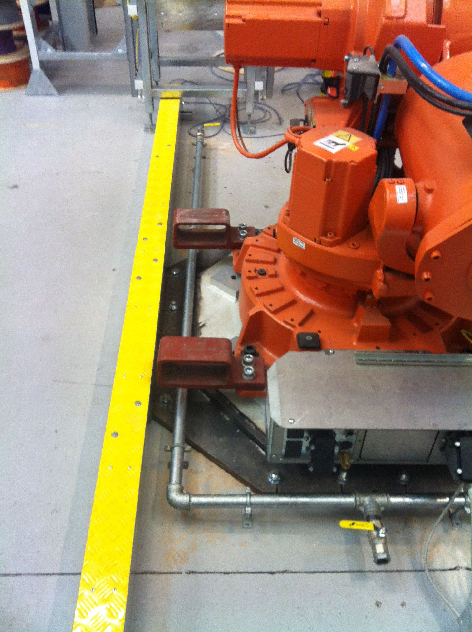 Shows final valve pipework and conveyor take off. (With