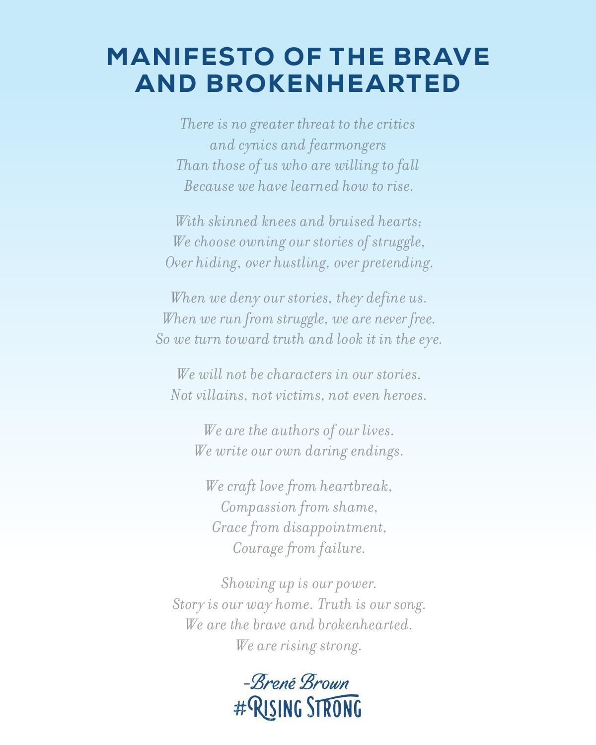 Manifesto Of The Brave Amp Brokenhearted The Rising Strong