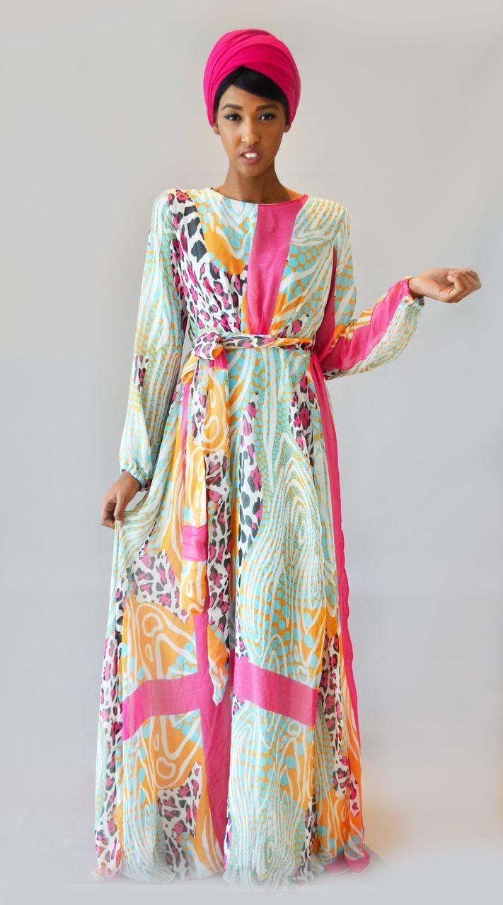 Abaya Addict - Animal print -  ELEGANCE- Silk Chiffon Maxi Dress, $100.00 (http://www.abayaaddict.com/animal-print-elegance-silk-chiffon-maxi-dress/)