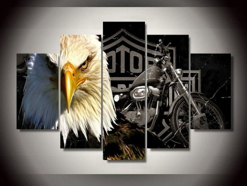 Eagles motorcycle hd canvas prints 5 pieces painting wall art home decor panels sport poster for