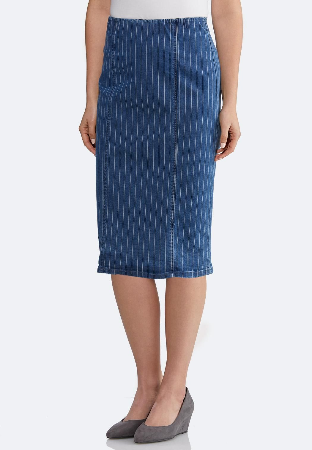 2168021eaa Plus Size Striped Denim Pencil Skirt Skirts Cato Fashions