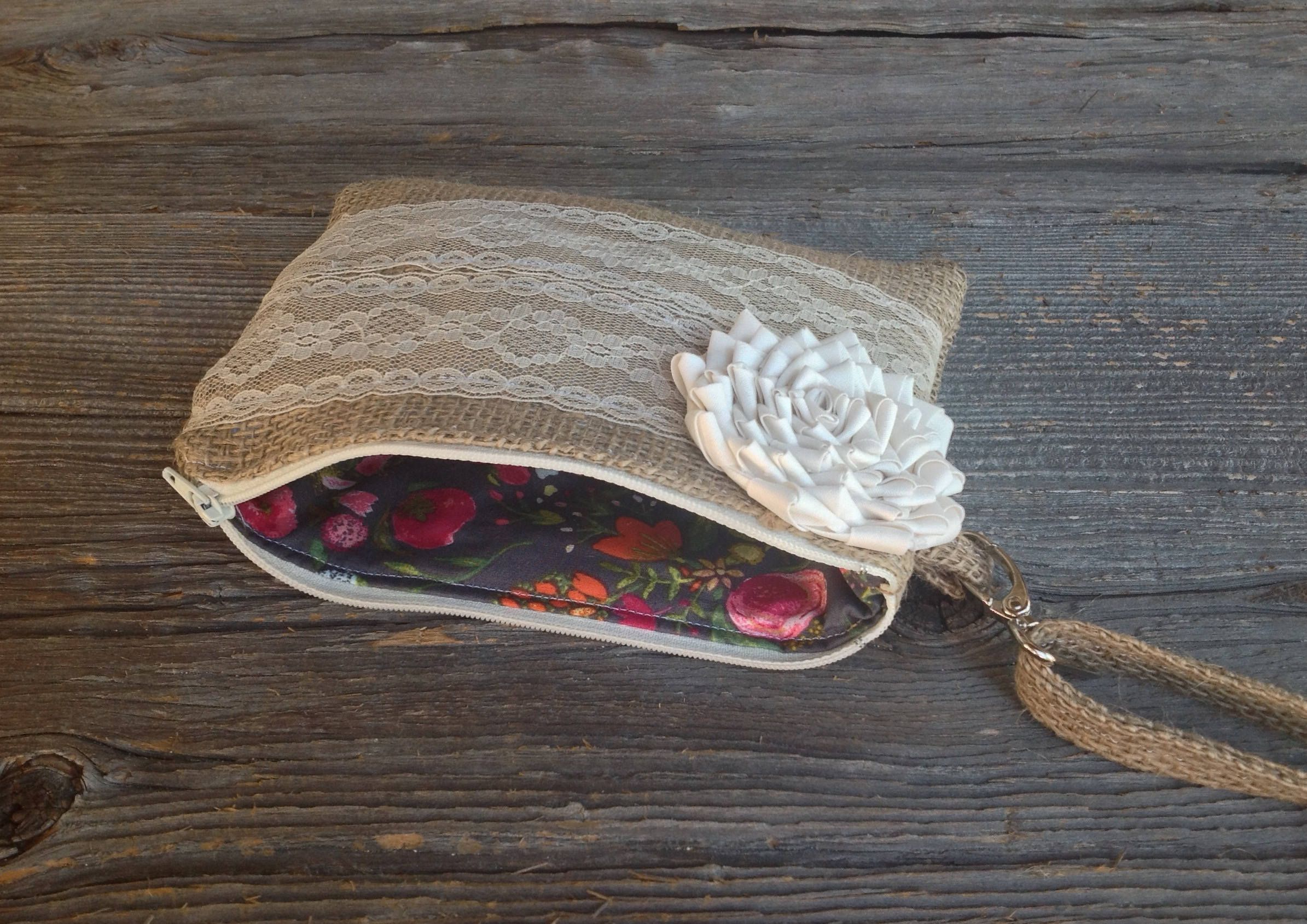 Bridesmaid wristlet bags for rustic country weddings