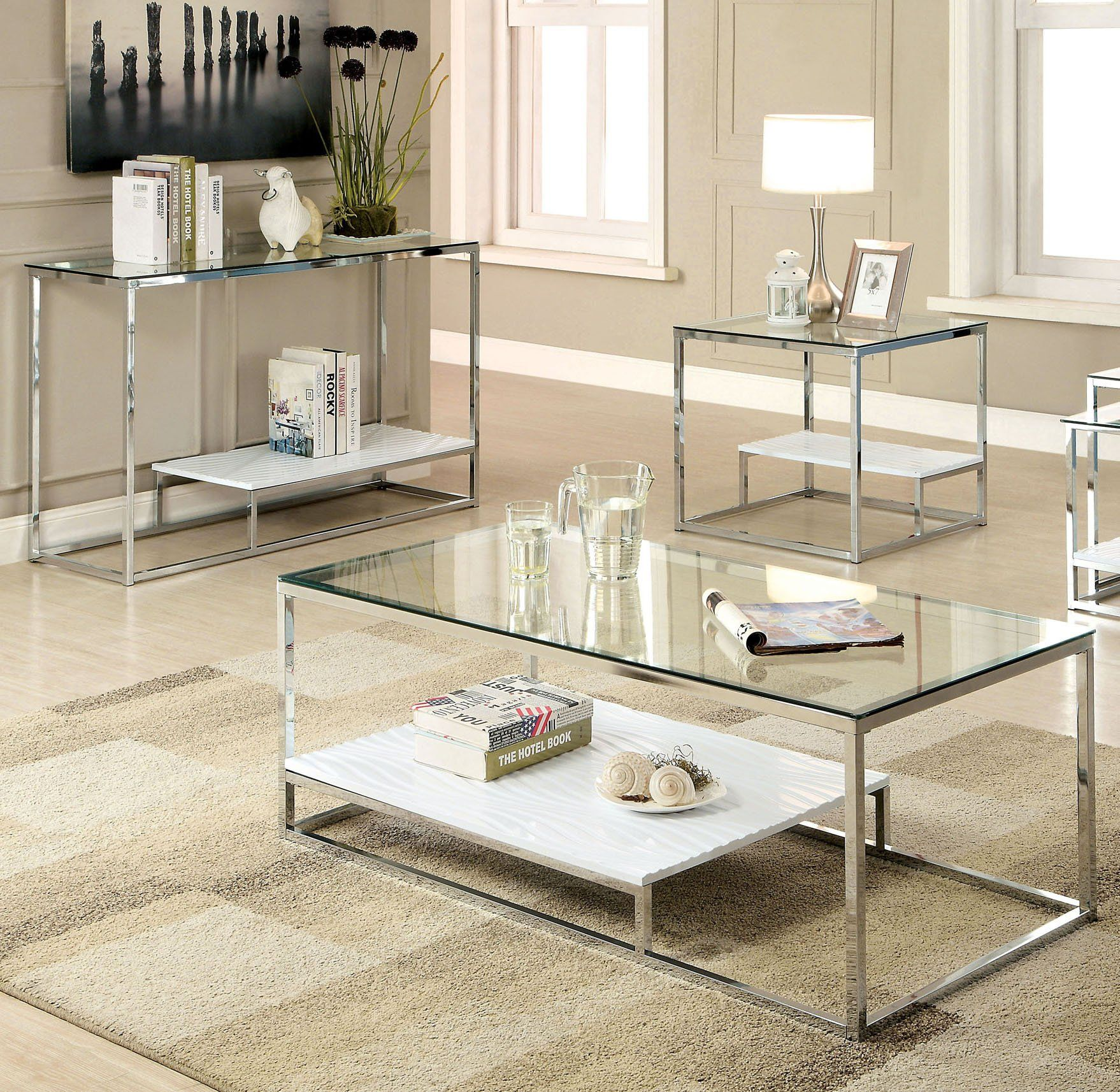 Furniture Of America Vendi 3 Piece Contemporary White Coffee Table