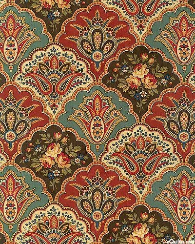 Amelia Pastoral Paisley Motifs Pesto Green Pattern Art Printing On Fabric Textile Patterns