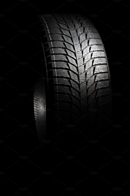 Snow Tire On Black Background Black Backgrounds Vw Art Tire