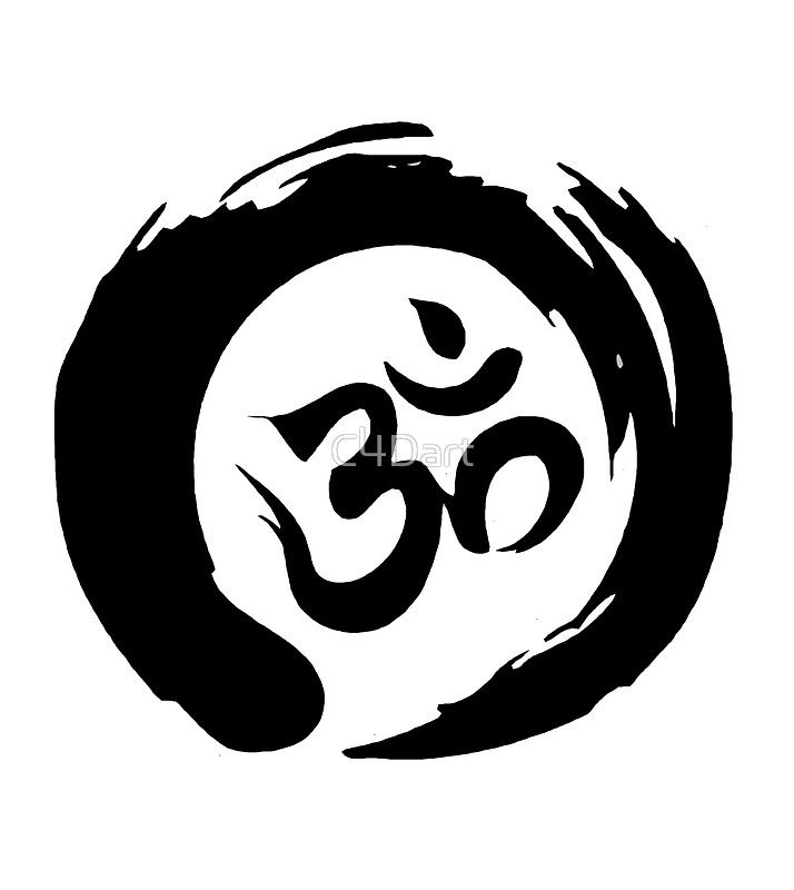Om Sign And Symbol And White Symbol Drawstring Bag By C4dart