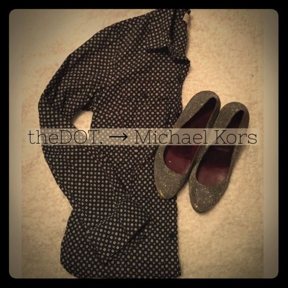 Michael Kors Button Down  Worn once, perfect condition.  Navy blue with cute pattern.  ✔️ theDOT. Boutique standards are as follows: Posh compliant, quick shipping, offer button, bundle discount, no trades, no smoking, no other apps ✔️ MICHAEL Michael Kors Tops Button Down Shirts