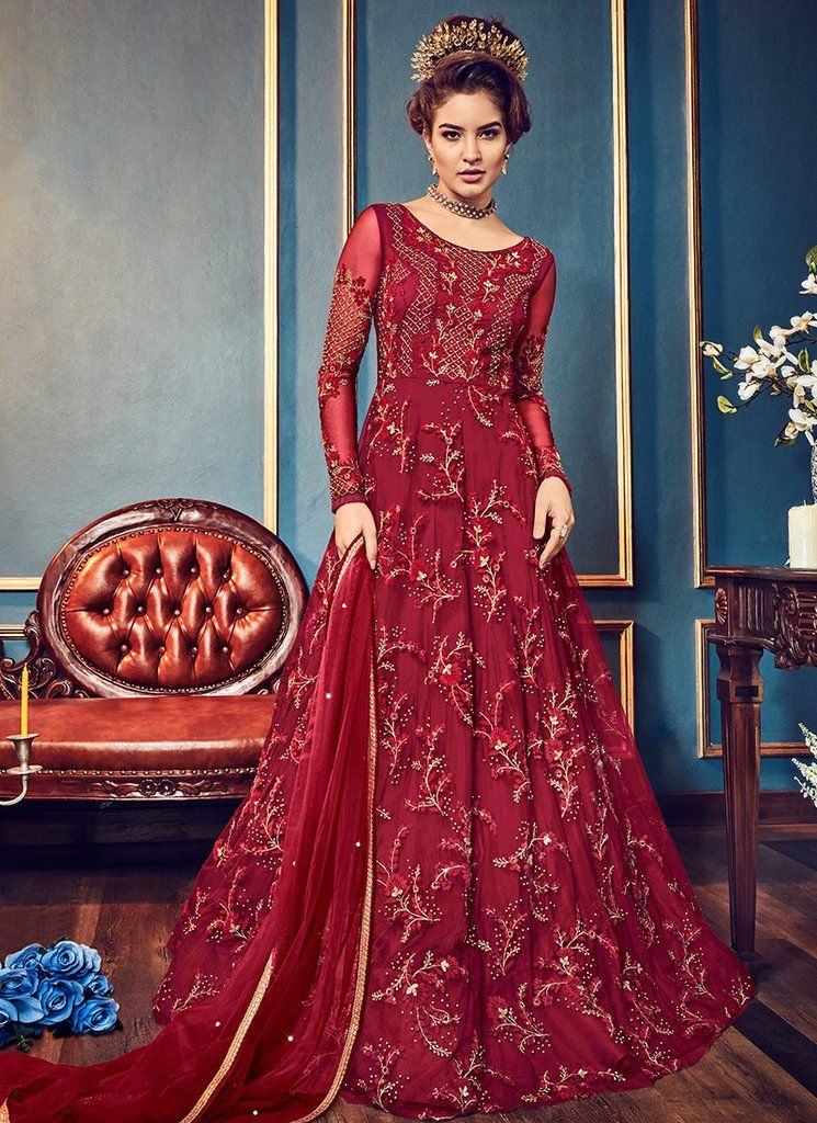 164fb5bab34d Red Embroidered Net Anarkali Gown in 2019