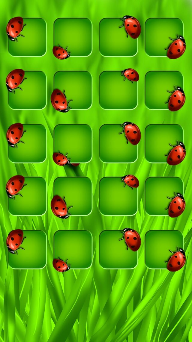 Ladybug 5 shelf home screen for iPhone/iPod 5 apple devices