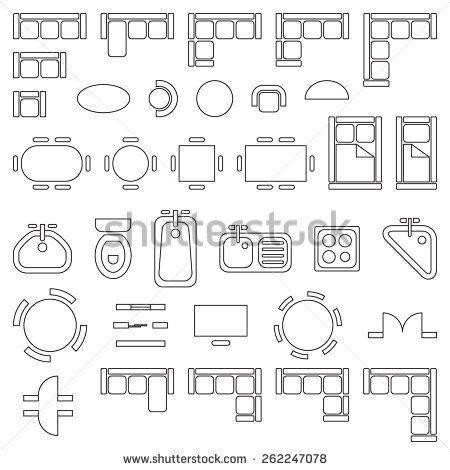Standard furniture symbols used in architecture plans