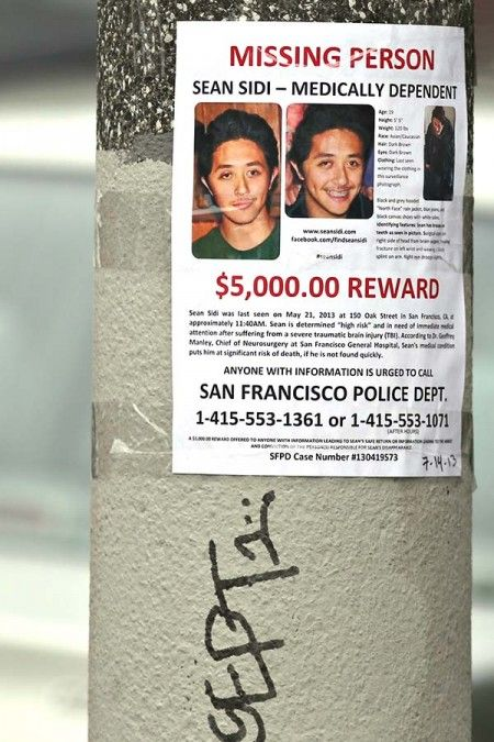 San Francisco Citizen - Flyers Just Posted All Over Town: $5000.00 REWARD - Missing Person - Sean Sidi - Medically Dependent www.sfcitizen.com