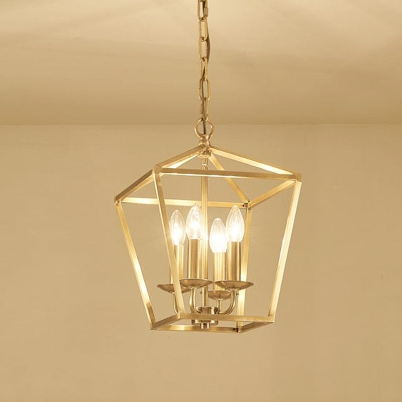 Diamond Style Copper Brass Golden Hanging Chain Pendant Light Lamp