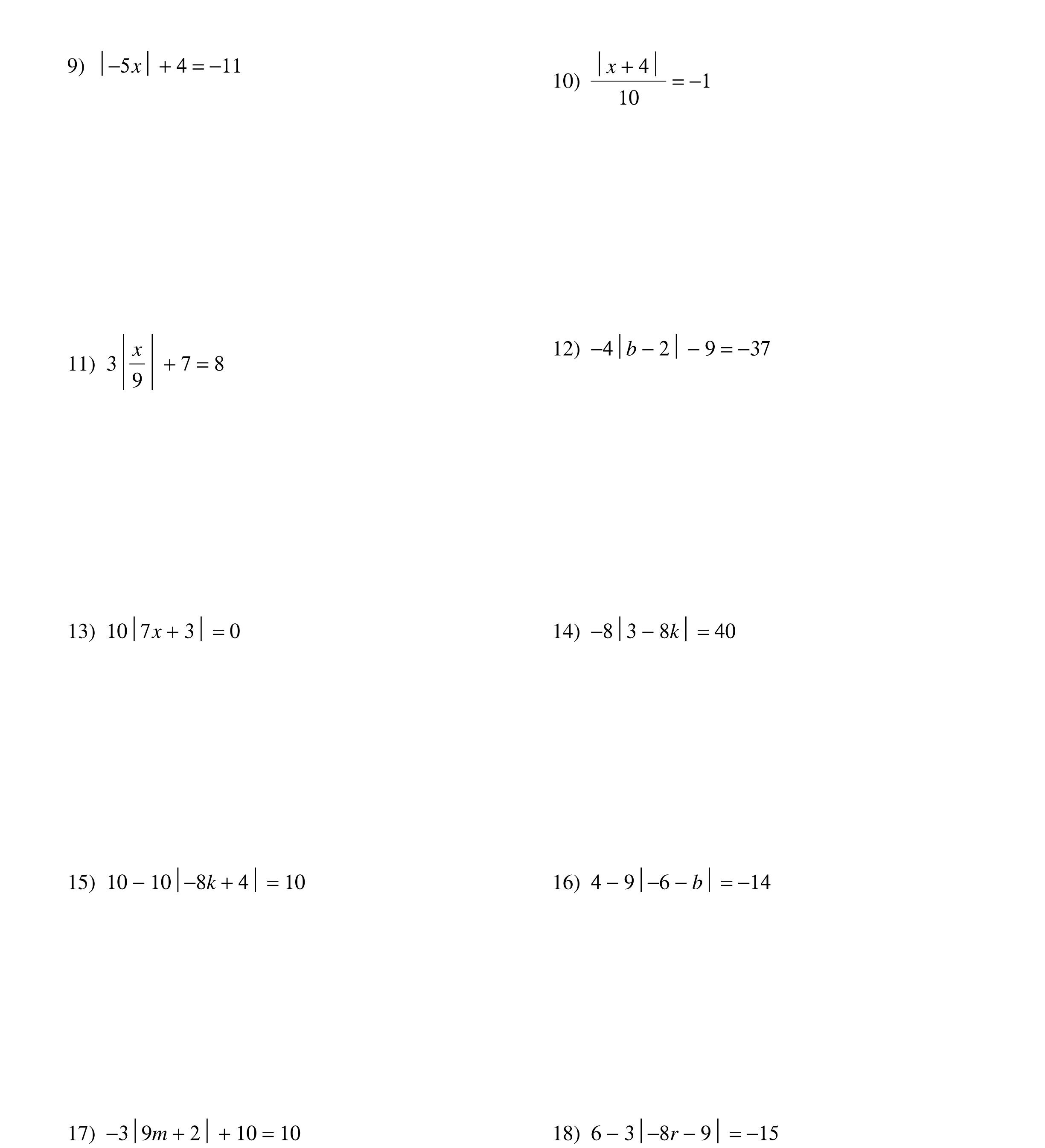 - Solving Absolute Value Equations Worksheet Absolute Value