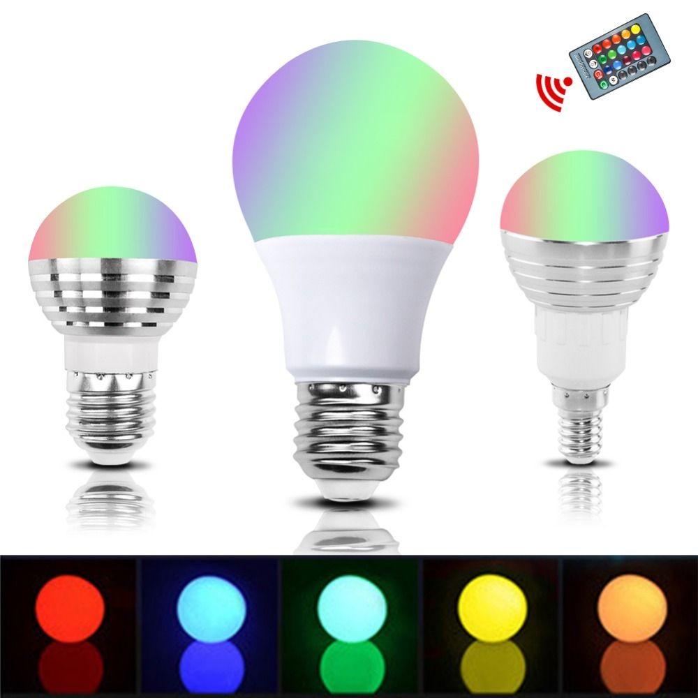 E27 E14 Rgb Led Bulb Lamp 3w 5w 10w Color Magic Spot Light Led