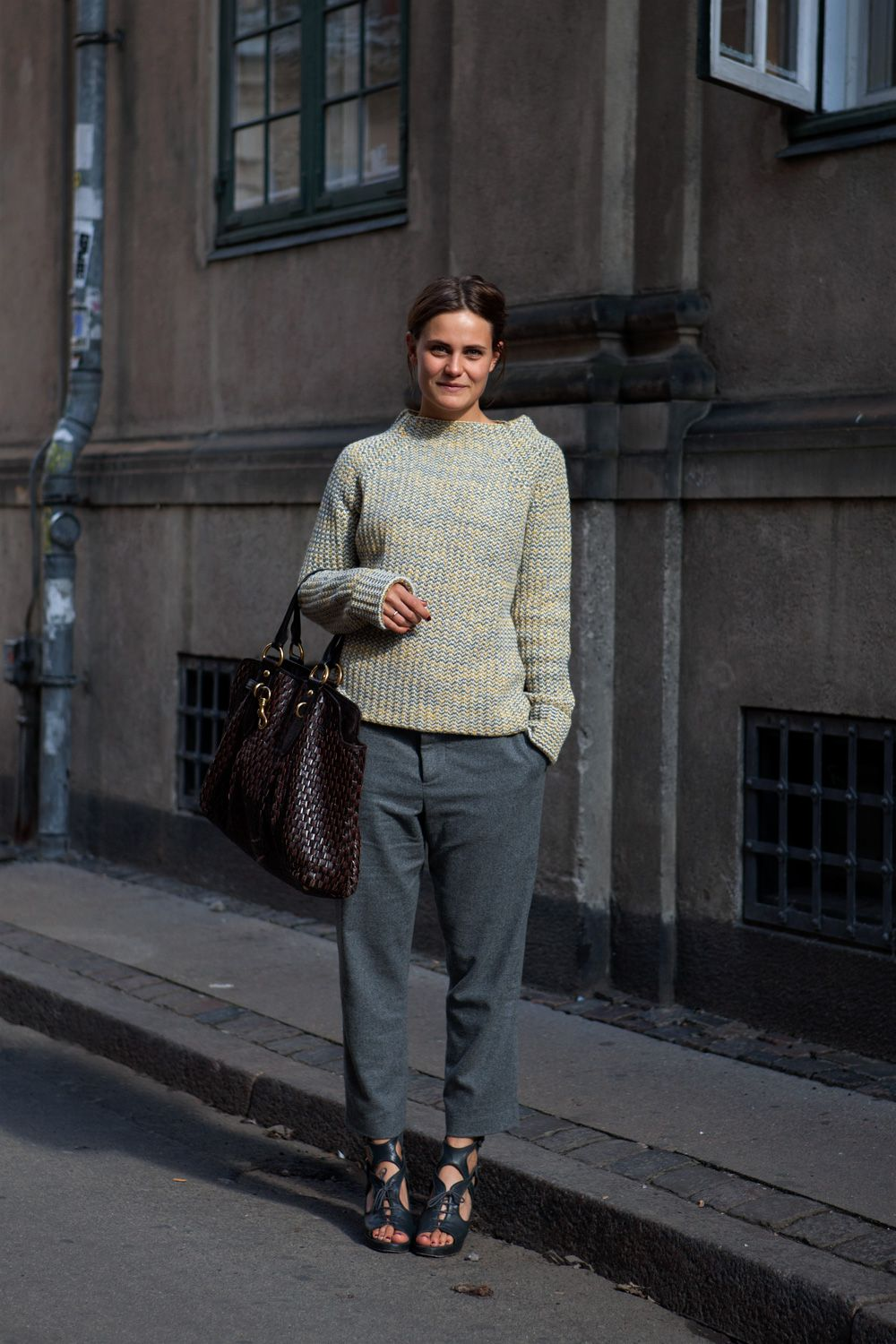 Sweater, sandals and slouch pants