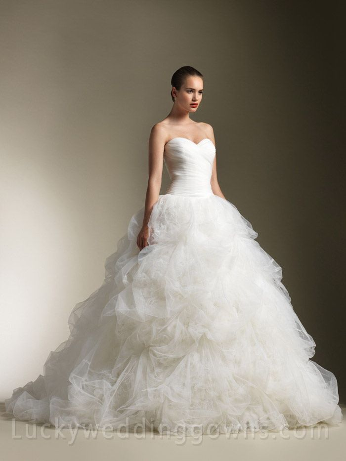 Traditional Strapless Ball Gown Wedding Dress with Feathers Pick Up ...