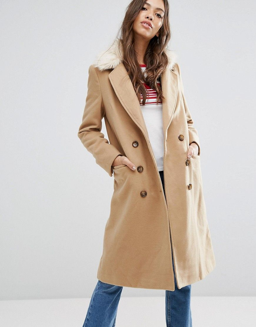 479033067fc18 Brave Soul Ashwich Double Breasted Coat With Faux Fur Collar - Beige