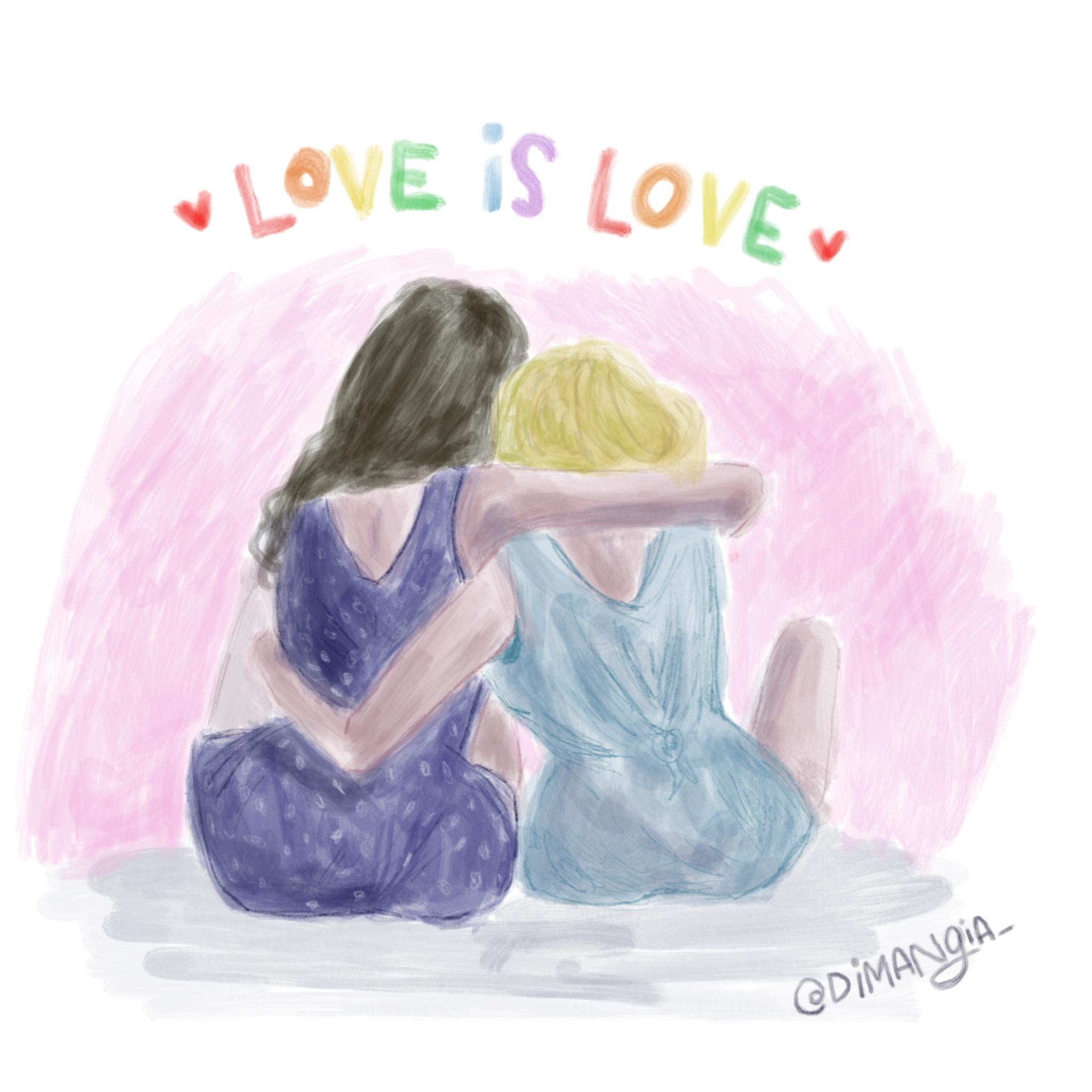 Love is love.  Pride 💕 orgullo      #illustration #illustracion #ilustracion #dibujo #drawing #drawoftheday #draw #sketch #design #graphic #graphicdesign #art #arte #designer #instaart #instaartist #instart #love #amor #live #feminismo #feminism #woman #mujer #love #sororidad #girlpower #pride #loveislove #gay #orgullo #torta