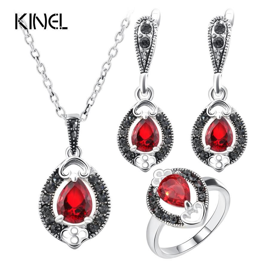 Kinel Womenus Fashion Silver Color Pendant Necklace And Earring Ring