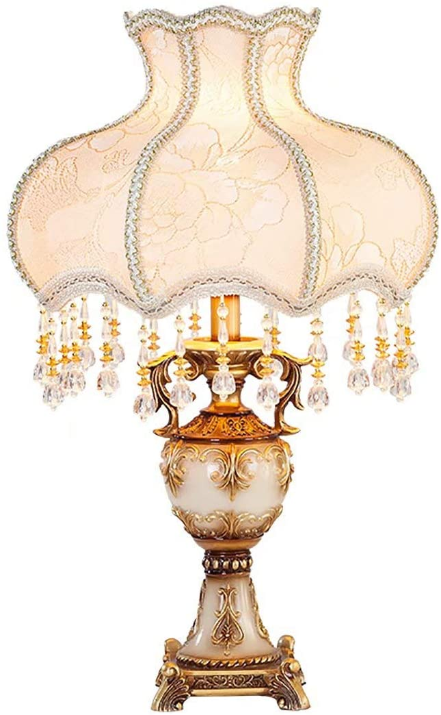 Upscale European Table Lamp Bedroom Bedside Luxury French Garden Fabric Princess American Table Lamp Re Bedroom Lamps Retro Table Lamps Table Lamps For Bedroom