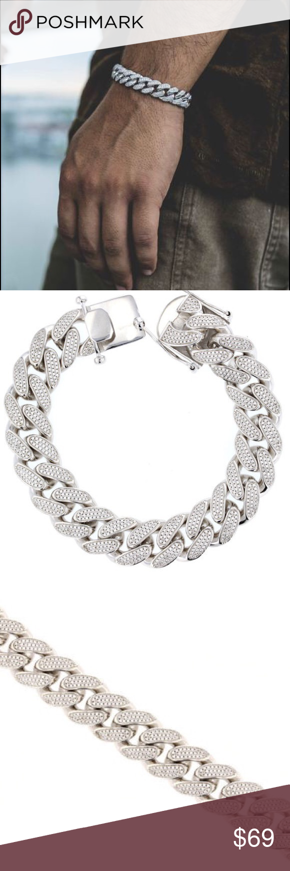 Iced Out White Gold Cuban Link Bracelet Iced Out Lab Diamond White Gold Cuban Link Bracelet Ful Mens Diamond Jewelry Mens Diamond Bracelet Gold Chains For Men