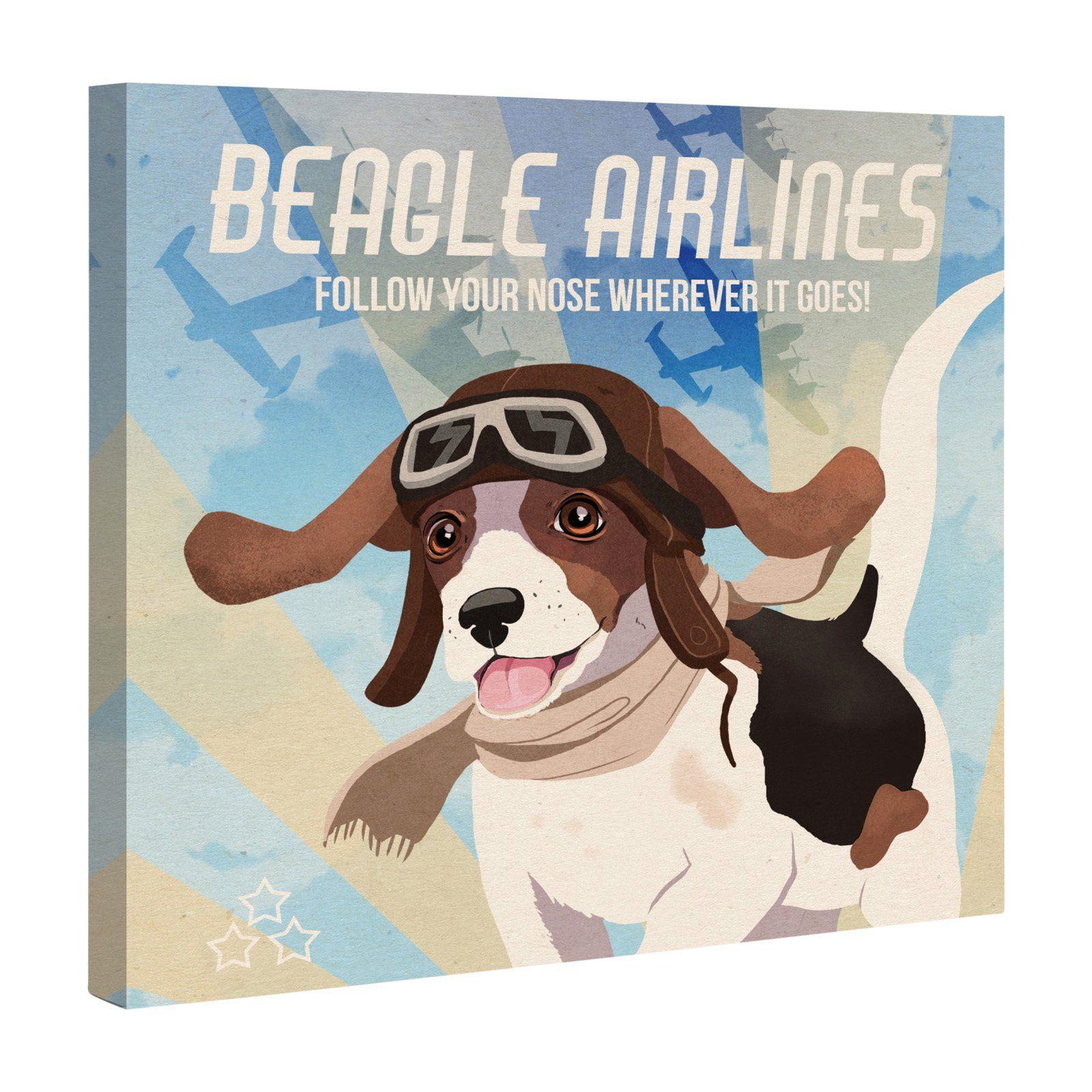 Oliver Gal Beagle Airlines Wall Art Oliver gal, Beagle art
