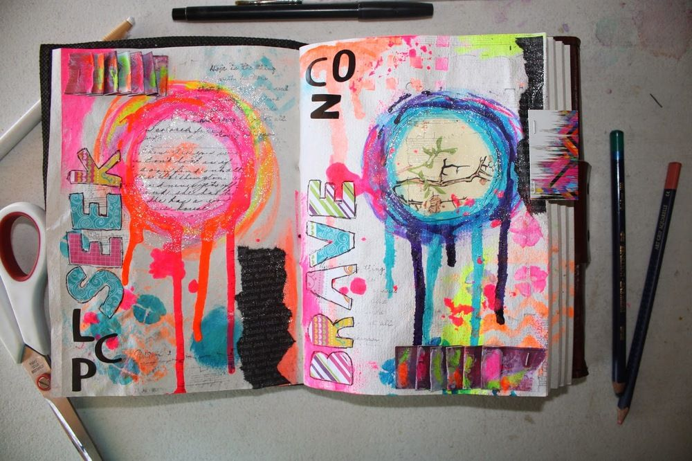 Hi friends I know its been awhile but I figured I would stop by for an  update and share some art journal love! I am finding my love of color just  continues to grow, I love using my neon paints and contrasting them with a  darker purple or blue! I also love adding pops of black, I love how b