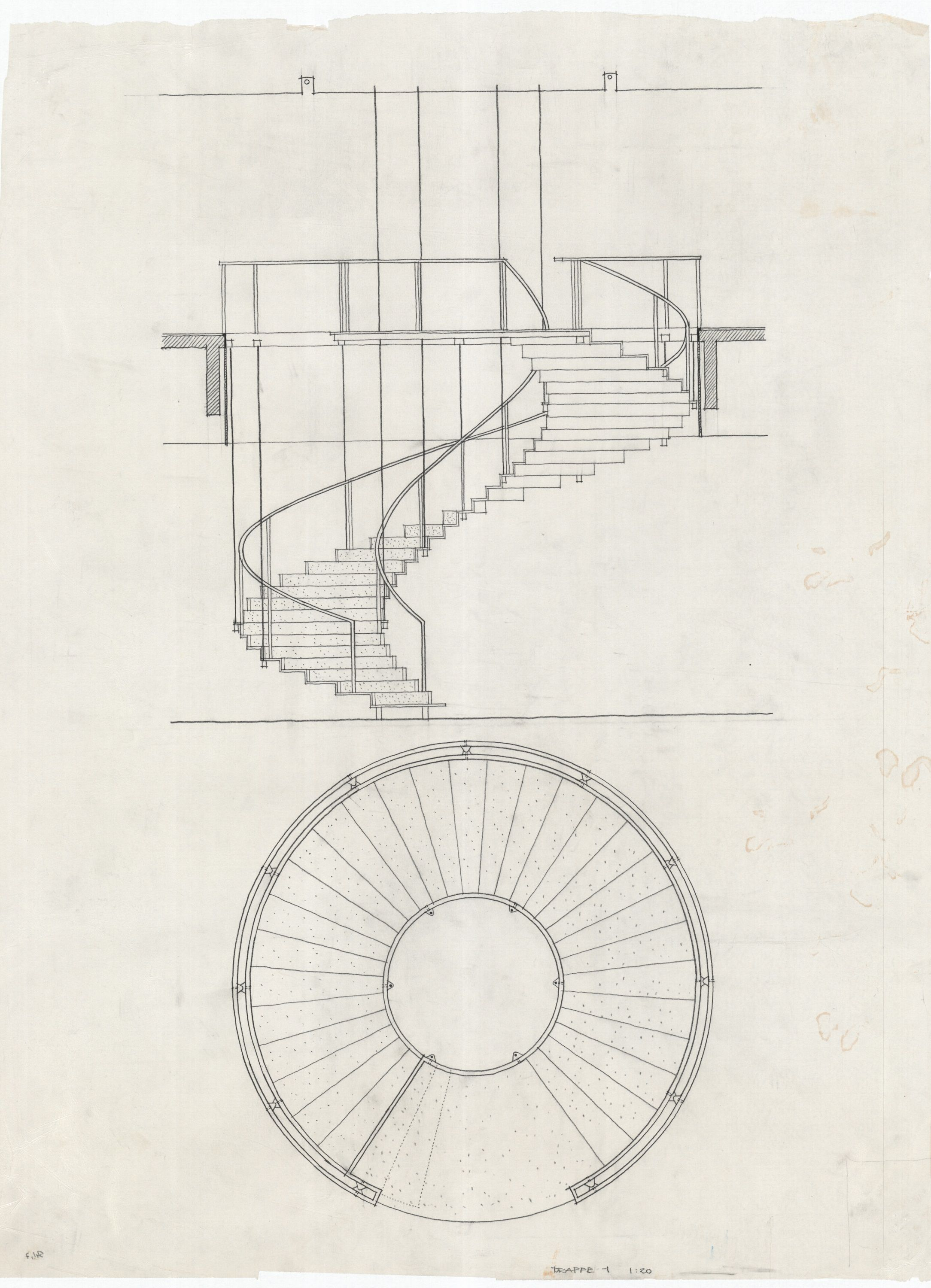 Arne Jacobsen, Stairs SAS Royal Hotel, 1955 59 Stair Drawing, Plan Drawing