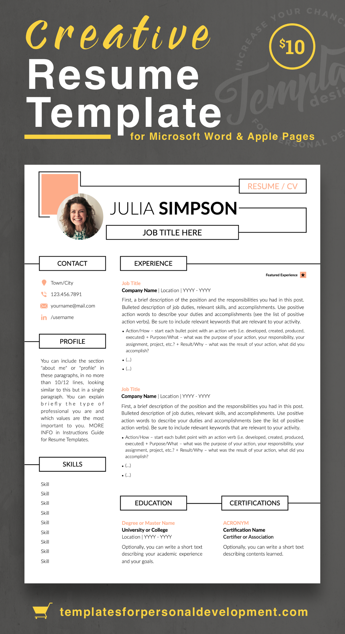 Julia Simpson Creative Resume Cv Template For Word Pages Us Letter A4 Files 1 2 3 Page Resume Version Cover Letter References Cover Letter W Resume Templates Resume Template Resume