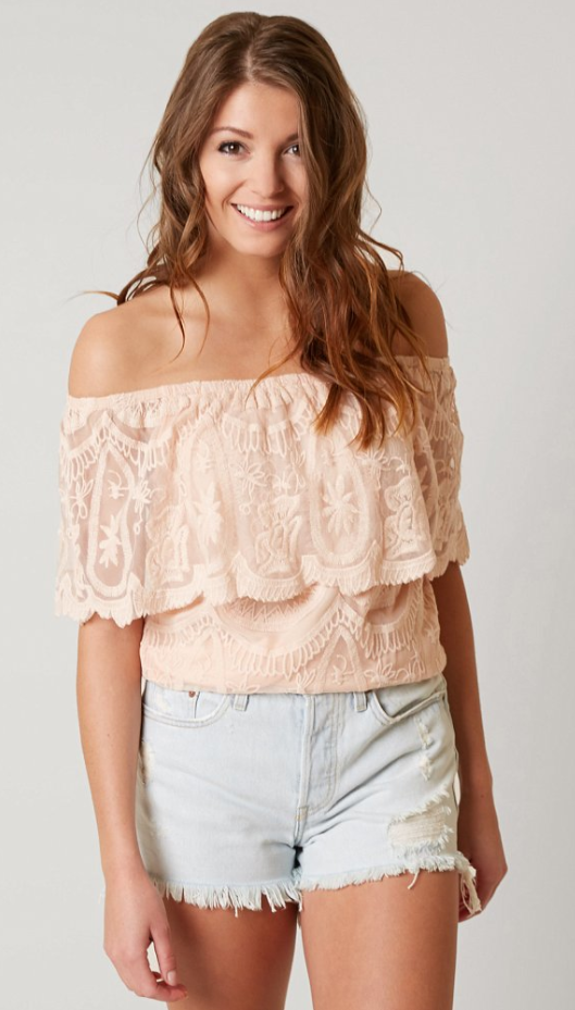 6a08c5ea272 Trendy Summer Top : Daytrip Lace Off the Shoulder Top | Buckle ...